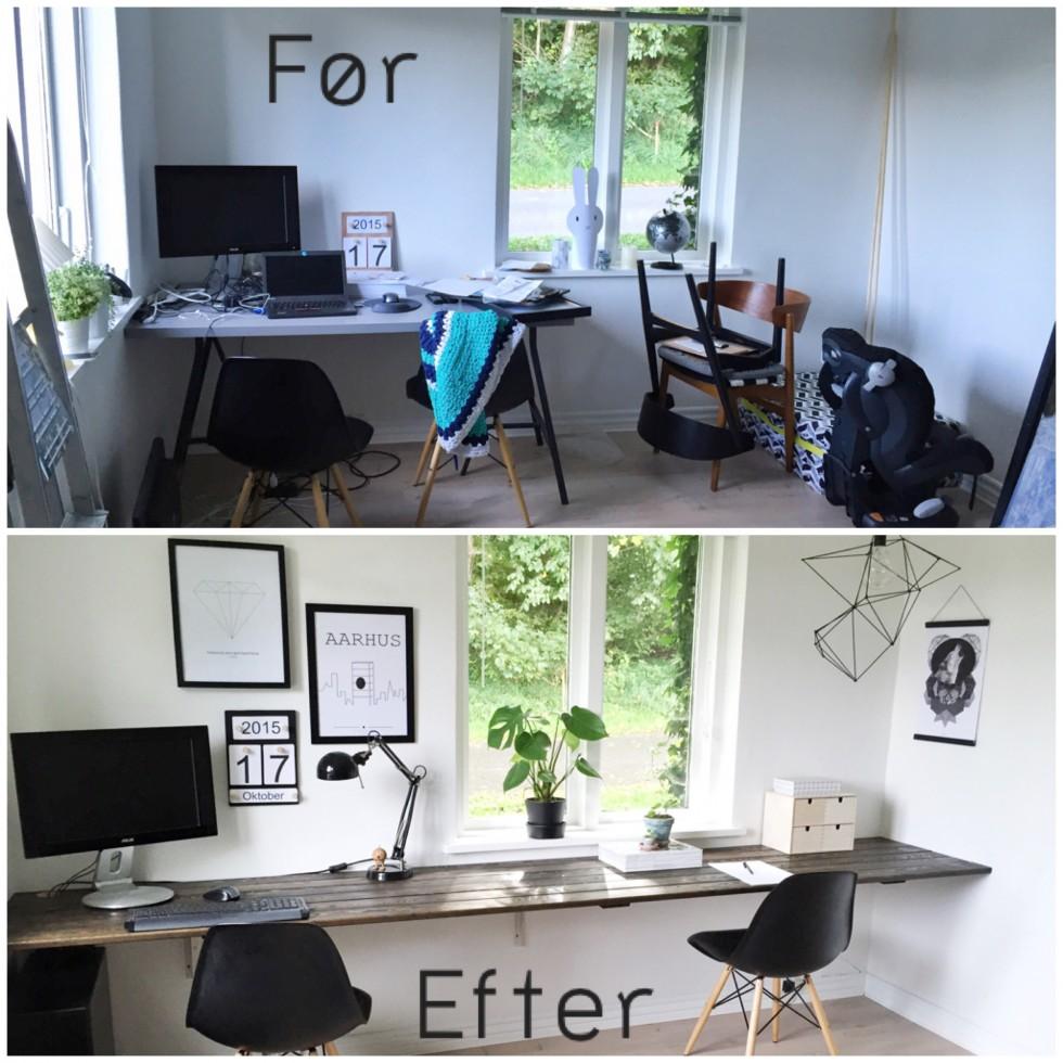 Før og efter billede af hjemmekontoret