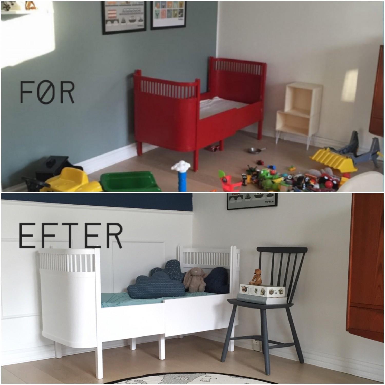 Før og efter billede på renovering af børneseng