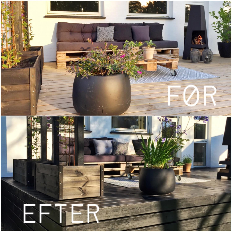 Billede af terrassen før og efter maling