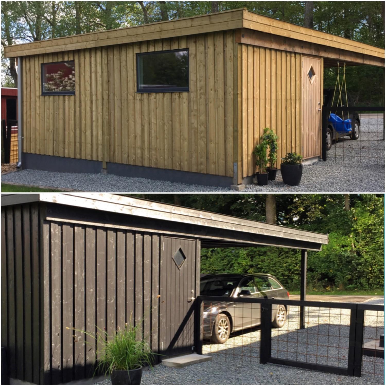 Før og efter billede af den malede carport