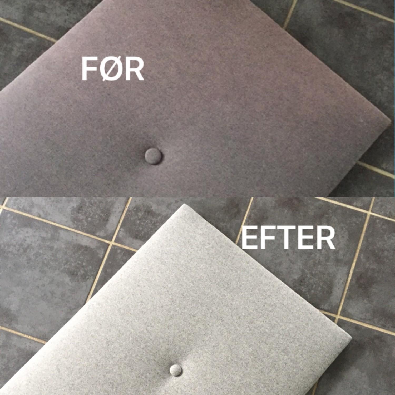 Før og efter billede af ompolstring af sengegavlen