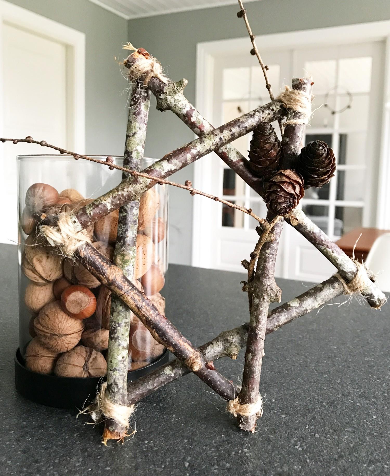 DIY julestjerne af grene og snor